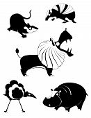 foto of armadillo  - Vector original art animal silhouettes collection for design - JPG