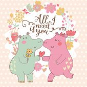 stock photo of hippopotamus  - All I need is you - JPG