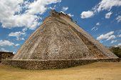 picture of yucatan  - rounded edge Mayan pyramid at Uxmal Yucatan Mexico - JPG