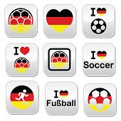 stock photo of offside  - Soccer ball with flag of Germany vector buttons set isolated on white - JPG
