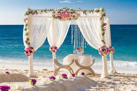 stock photo of cabana  - beach wedding set up - JPG