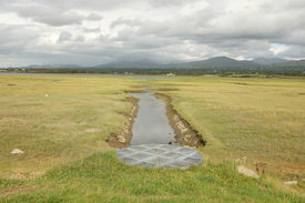 stock photo of cross-hatch  - A circular metal drainage grill hatch on a grass mound leading to a stream crossing a tidal salt marsh - JPG