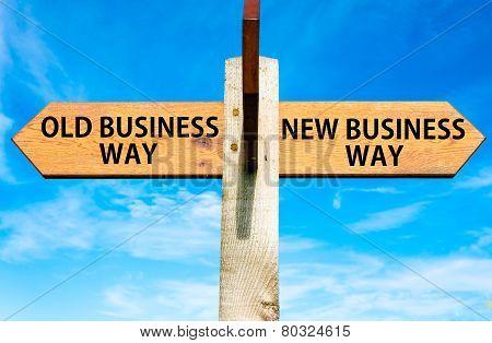 Постер, плакат: Old Business Way versus New Business Way, холст на подрамнике