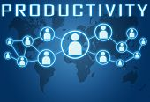 stock photo of productivity  - Productivity concept on blue background with world map and social icons - JPG