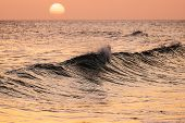 Постер, плакат: Breaking Wave At Sunset