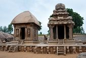 stock photo of tamil  - Five rathas complex with  in Mamallapuram - JPG