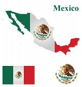 stock photo of south american flag  - Flag of the United Mexican States overlaid on detailed outline map isolated on white background - JPG