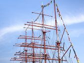 stock photo of mast  - Mast and guy cables of sailing vessel - JPG