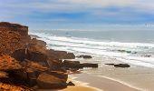 image of atlantic ocean  - Beautiful Atlantic Ocean landscape somewhere between Agadir and Essaouira Morocco - JPG