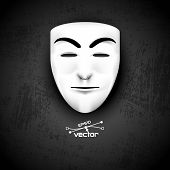 stock photo of anonymous  - Mask of anonymous on black grunge - JPG