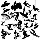 foto of hang-gliding  - Vector extreme sports silhouettes  - JPG
