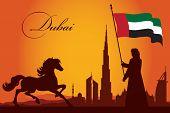 stock photo of dubai  - Dubai city skyline silhouette background vector illustration - JPG