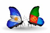 stock photo of eritrea  - Two butterflies with flags on wings as symbol of relations Argentina and Eritrea - JPG