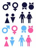 picture of female toilet  - set of vector icons symbolizing male and female persons - JPG