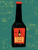 pic of drawing beer  - Vintage grunge style poster with a beer bottle - JPG