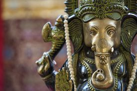 image of hindu  - Hindu temple with a statue of Ganesh on the altar - JPG