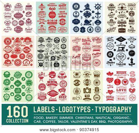 160 Labels and Logotypes design set  Retro Typography design  Badges,  Logos, Borders, Arrows, Ribbon poster