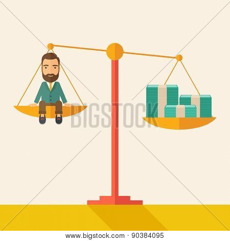 a happy smiling young male sitting on a balance scale with