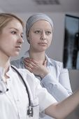 pic of chemotherapy  - Young patient after chemotherapy during control visit - JPG