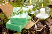stock photo of fern  - Green soap with fern leaves and candles - JPG