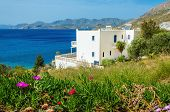 picture of greek-island  - Panoramic view on cosy appartments along the beach with view on clear see and Greek islands on horizon - JPG