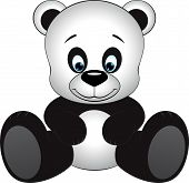 foto of panda  - Cute little panda sitting on a white background - JPG