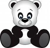 stock photo of pandas  - Cute little panda sitting on a white background - JPG
