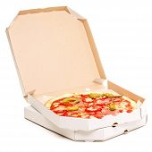 stock photo of lunch box  - Open box with pizza - JPG