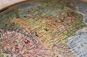 picture of united states map  - close up of old globe  - JPG