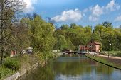 picture of water-mill  - Ancient water mill and dam in Lidzbark WarminskiWarmian - JPG