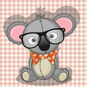 stock photo of koala  - Hipster Koala with glasses on a plaid background - JPG