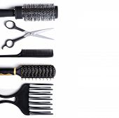 picture of hair cutting  - Hairdressing accessories set for cutting and styling hair isolated white background - JPG