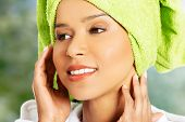 pic of turban  - Beautiful spa woman in bathrobe and turban - JPG