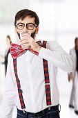 foto of suspenders  - Funny man wearing suspenders drinking milk - JPG