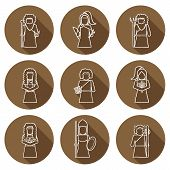 picture of artemis  - Set of hand drawn icons with Greek gods for your design - JPG
