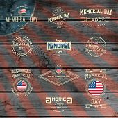stock photo of memorial  - Memorial day badges logos and labels for any use on wooden background texture - JPG