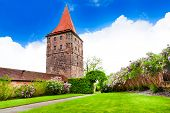 pic of bavaria  - The beautiful garden with tower in inner yard of Kaiserburg - JPG