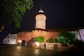 image of bavaria  - Night view of Kaiserburg wall with Sinwellturm in Nuremberg - JPG