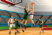 pic of competition  - A vector illustration of people playing basketball in the competition for sport competition series - JPG