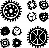 picture of gear  - Vector black gears icons set - JPG