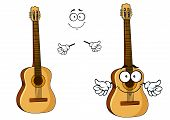 picture of googly-eyes  - Happy cartoon wooden acoustic guitar character with googly eyes - JPG