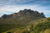 pic of rocky-mountains  - Famous Pentadaktylos rocky mountain peaks in Kerynia town in Cyprus late in the evening - JPG
