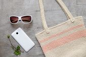 pic of clutch  - summer beach accessories strap clutch skirt sunglasses - JPG
