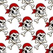 picture of skull crossbones  - Pirate skull with crossbones in red bandana seamless pattern for wallpaper - JPG