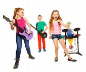 image of singing  - Cool kids playing on musical instruments as rock group and girl singing as vocalist in front on white background - JPG