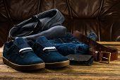 stock photo of pullovers  - dark blue men - JPG