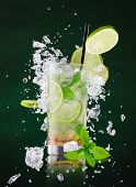 picture of freezing  - fresh mojito drink with liquid splash - JPG