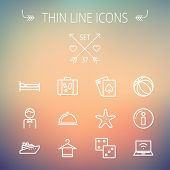 stock photo of food pyramid  - Travel thin line icon set for web and mobile - JPG