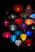 picture of eastern culture  - Night lanterns in old Hoi An town in Vietnam - JPG