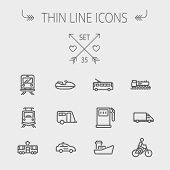 stock photo of passenger train  - Transportation thin line icon set for web and mobile - JPG